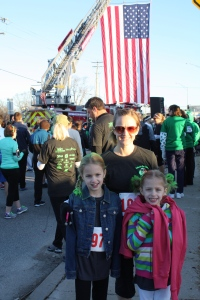 Lucy's first official run!  St. Patrick's Day run in Cottleville.